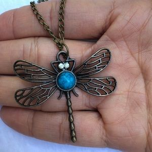Jewelry - Retro Hollow Dragonfly Pendant and Necklace Chain